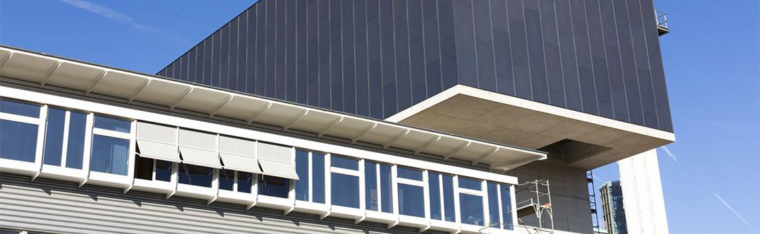 Anodisierte Aluminiumfassade mit Spectrocolor-Farbe, KVA Winterthur